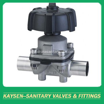 Sanitary manual diaphragm valves weld end plastic handwheel